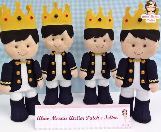 coros rei principes de feltro decoraçao centro de mesa lembrancninha