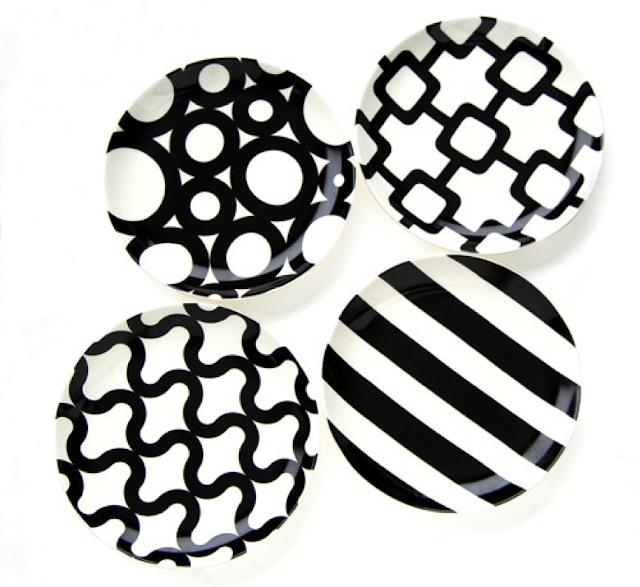 louça preto e branco