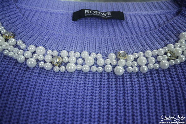 Pearls Neckline Puff Purple Sweater