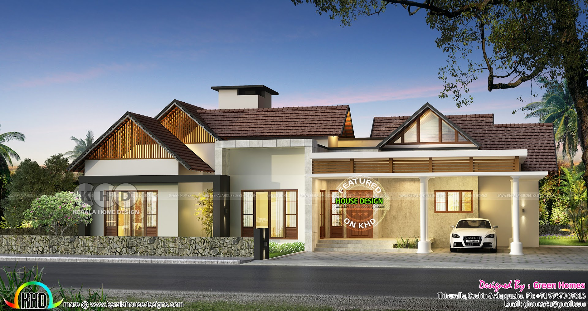 Big Single Floor House In Sloped Roof Style Kerala Home Design Bloglovin