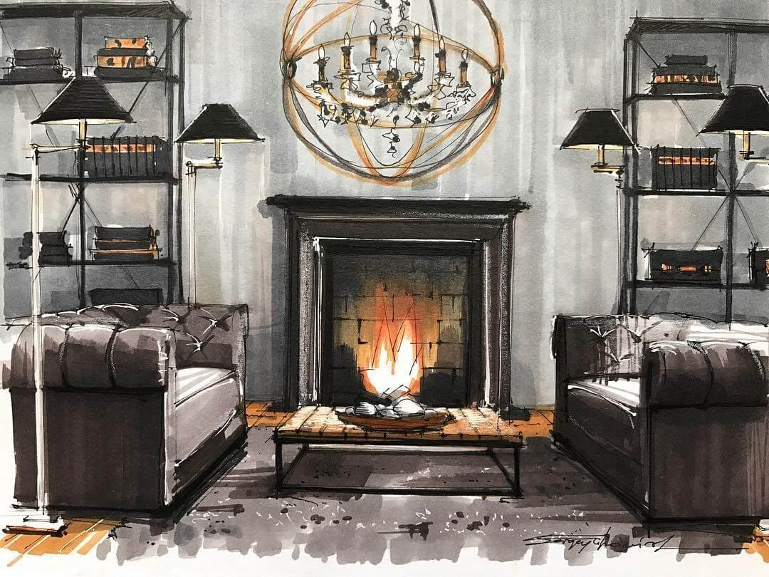 01-Living-Room-Fireplace-Sergei-Tihomirov-СЕРГЕЙ-ТИХОМИРОВ-Varied-Living-Room-Interior-Design-Sketches-www-designstack-co