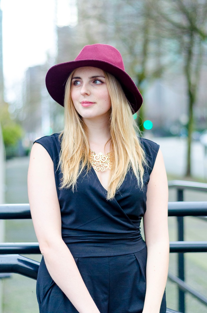 the urban umbrella style blog, vancouver style blog, vancouver fashion blog, vancouver lifestyle blog, vancouver health blog, vancouver fitness blog, vancouver travel blog, canadian fashion blog, canadian style blog, canadian lifestyle blog, canadian health blog, canadian fitness blog, canadian travel blog, bree aylwin, reitmans black jumpsuit, how to style a jumpsuit for evening, how to style a jumpsuit for day, how to style a jumpsuit for a date, cage heels, fergilicious heels, how to style a felt hat, how to style a floppy hat, how to style a statement necklace, best style blogs, best lifestyle blogs, best fitness blogs, best health blogs, best travel blogs, top fashion blogs, top style blogs, top lifestyle blogs, top fitness blogs, top health blogs, top travel blogs