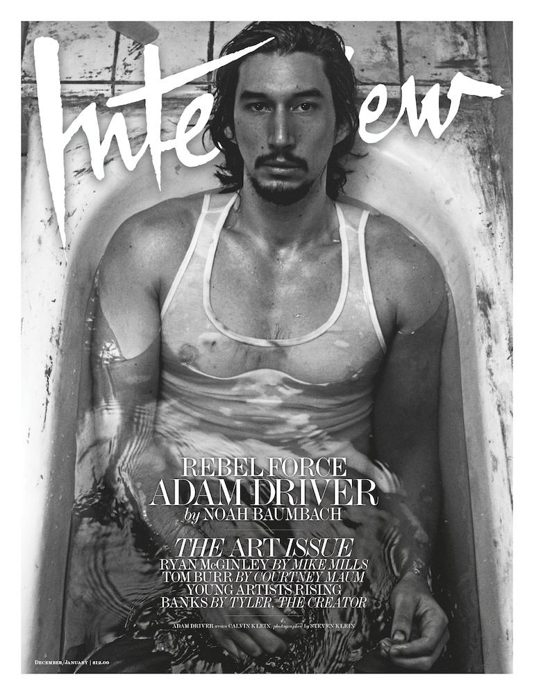 Adam Driver en couverture du magazine Interview édition Décembre/Janvier 2016-2017.