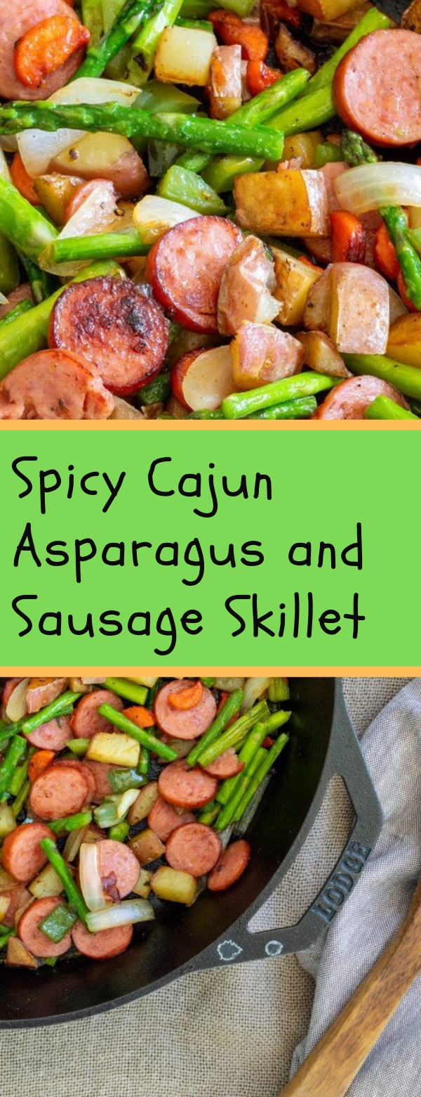 Spicy Cajun Asparagus and Sausage Skillet #CAJUN #SAUSAGE #VEGETARIAN #LOWCARB #VEGETABLE