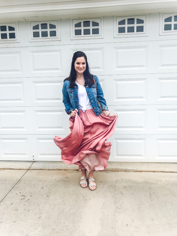 style on a budget, spring outfit, j. crew skirt, how to wear a denim jacket, north carolina blogger, mom style, casual spring outfit