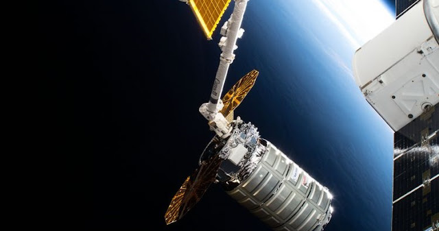 "From July 15, 2018 when Northrop Grumman's ""S.S. J.R. Thompson"" Cygnus spacecraft left the International Space Station after delivering approximately 7,400 pounds of cargo to astronauts on board. The spacecraft successfully concluded its ninth cargo supply mission on July 30. (Credit: NASA)"