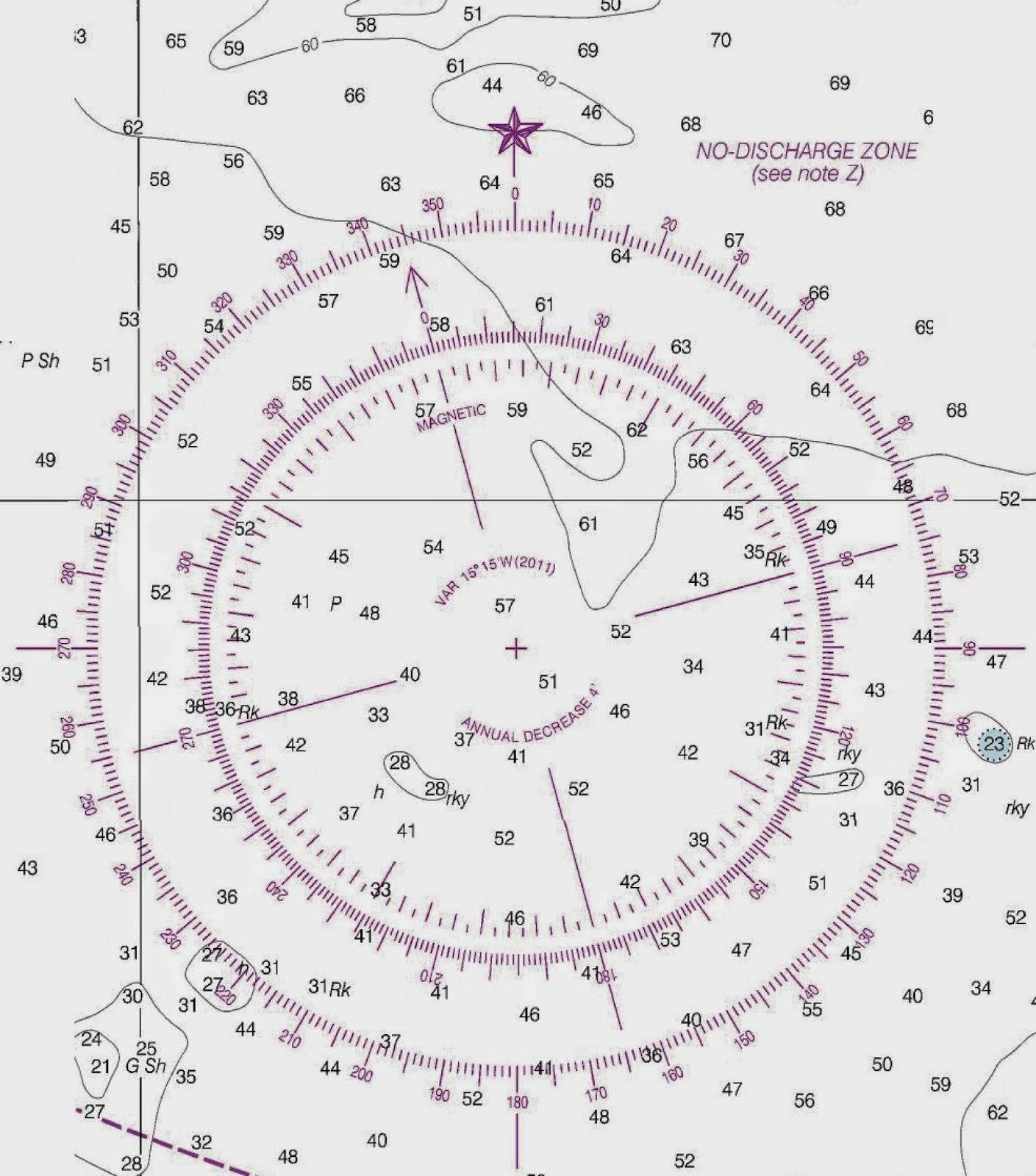 Compass rose seen on a...