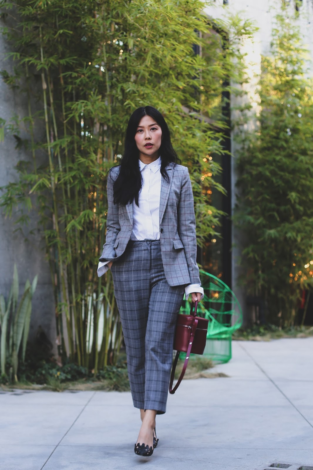 work outfit idea checkered pant suit