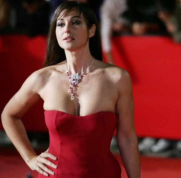 Beautiful Necklace And Red Color Dress Is Monica Bellucci