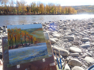 finished painting on location, trees and river in autumn