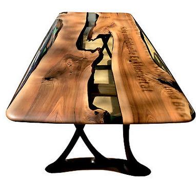 meja kayu kombinasi resin