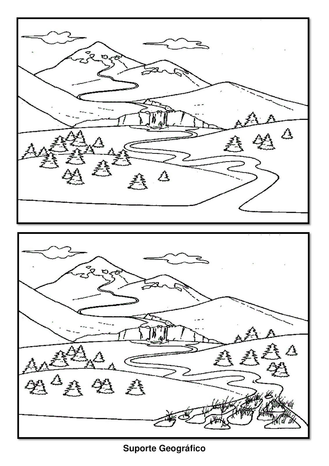 desenho de rio para colorir suporte geográfico