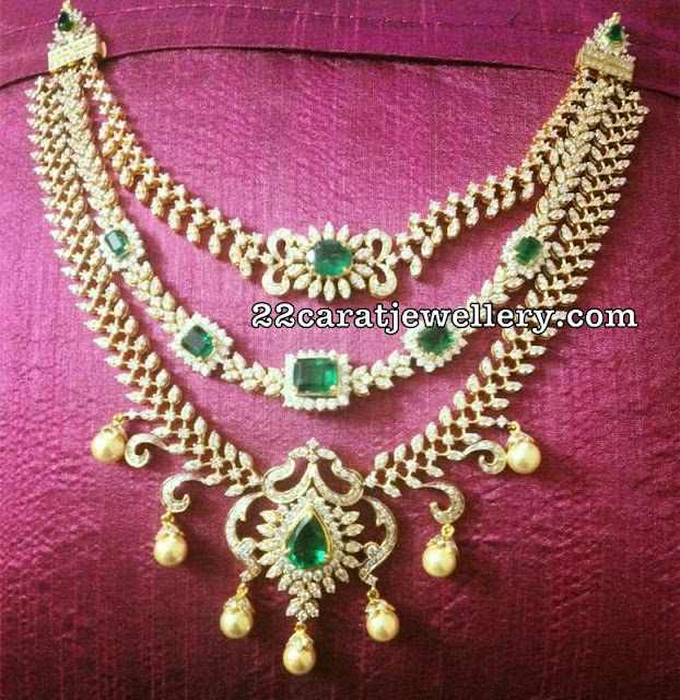 Three Step Diamond Emerald Classy Set