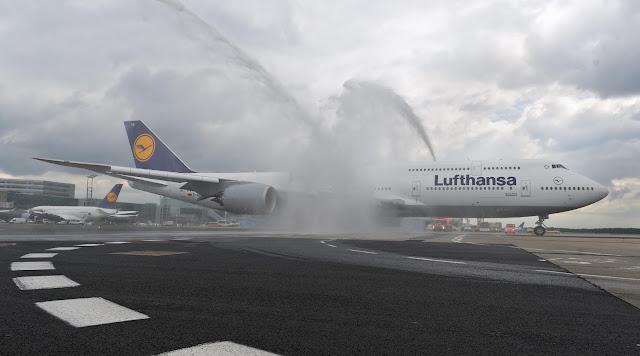 Lufthansa Boeing 747-8 Water Salute