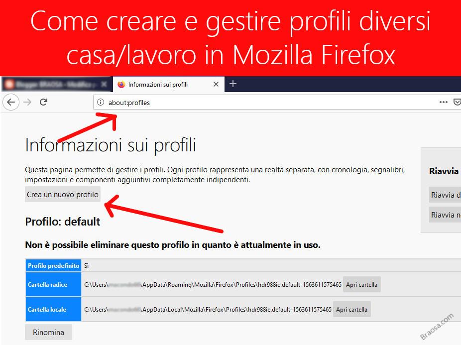 Come creare modificare e cancellare più profili Firefox