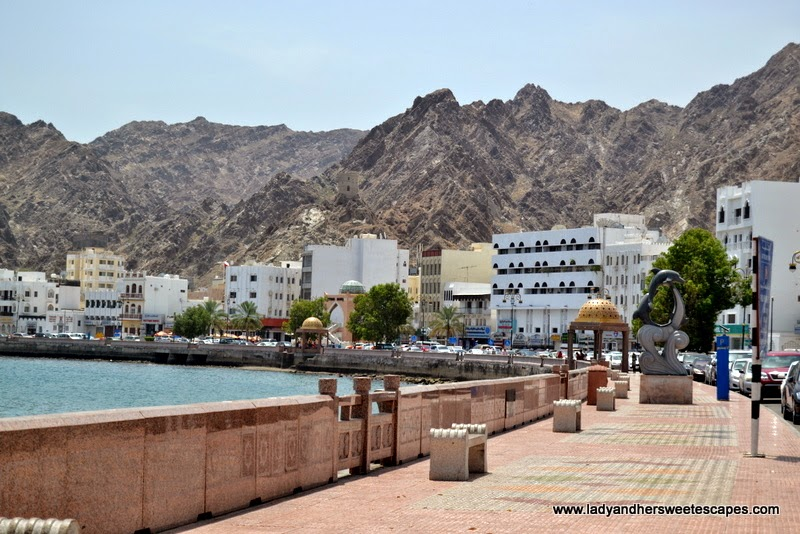 Mutrah Corniche and the Hajar Mountains