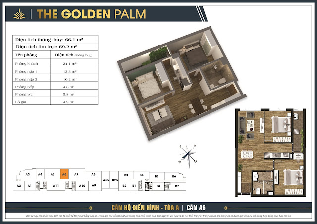 Mặt bằng căn A6 tòa A The Golden Palm