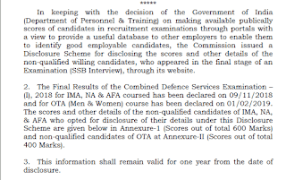 UPSC released score card for Combined Defence Services Exam (I) 2018