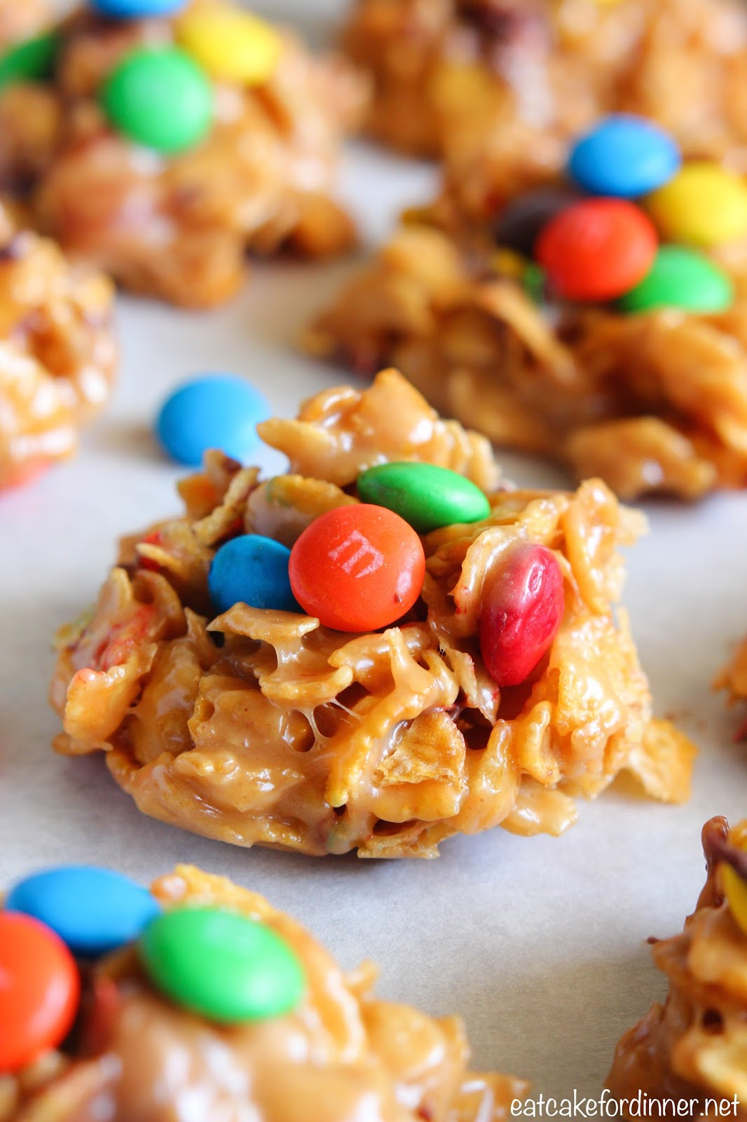 Eat Cake For Dinner: No-Bake Peanut Butter M&M Corn Flake