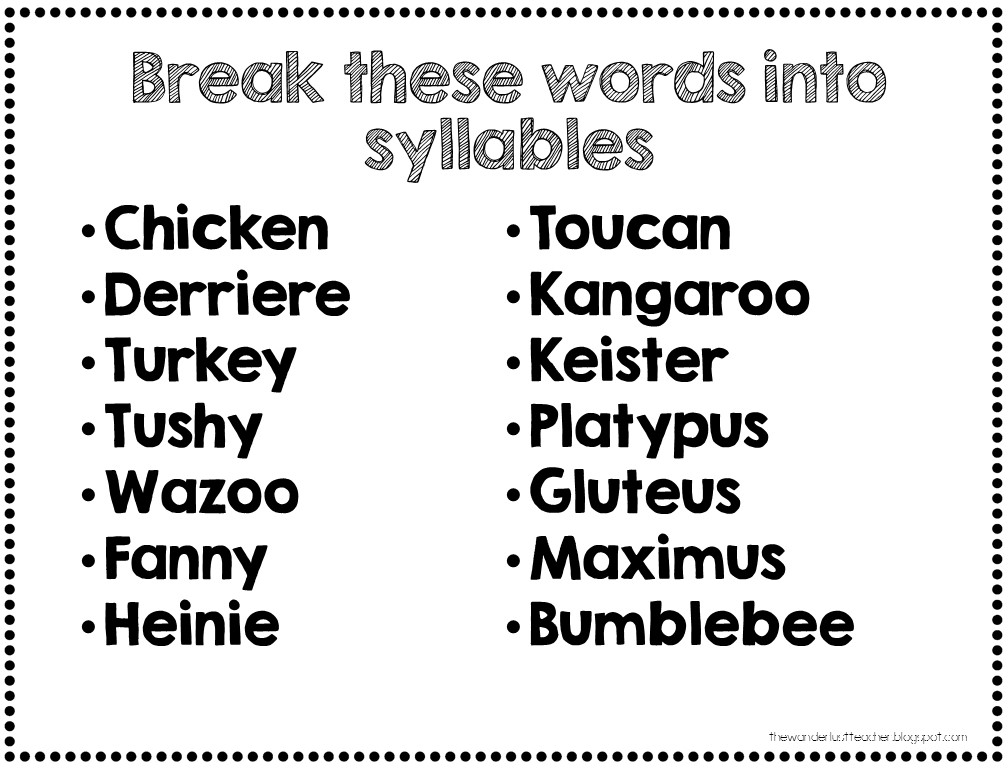The Wanderlust Teacher: The 6 Syllable Types.... with