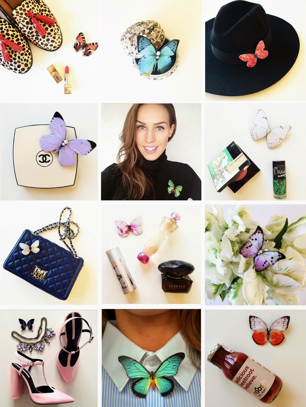 kristjaana mere instagram flat lay kuma butterfly brooch