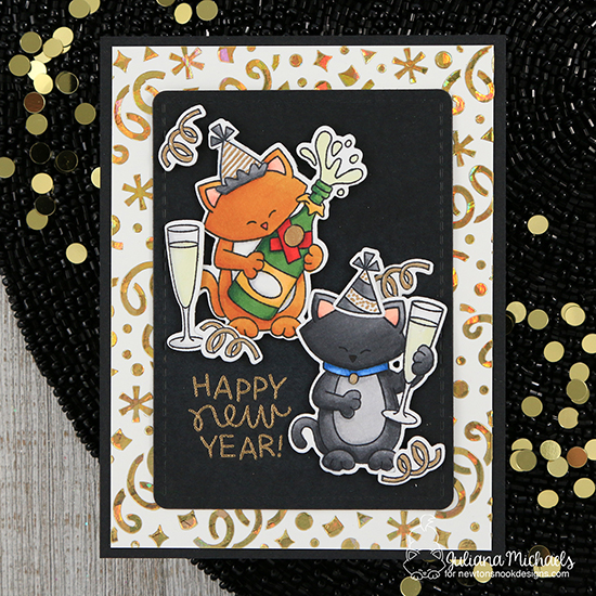 New Year Card by Juliana Michaels | Newton's New Year and Newton Celebrates Stamp Sets and Confetti Stencil by Newton's Nook Designs #newtonsnook #handmade