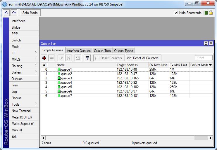 Daftar IP yang diatur bandwithnya dengan queues mikrotik