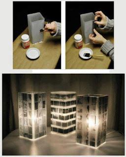 lampara hecha con negativos viejos
