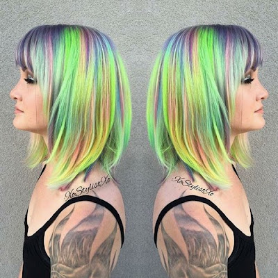Colorful Shoulder Length Lob