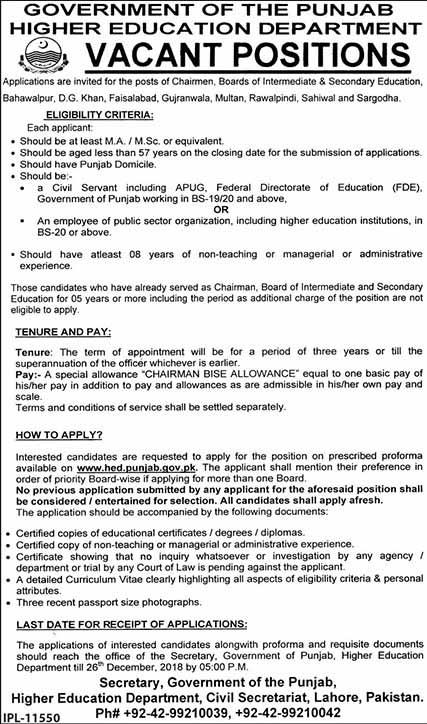 Chairman Jobs in Higher Education Department Dec 2018