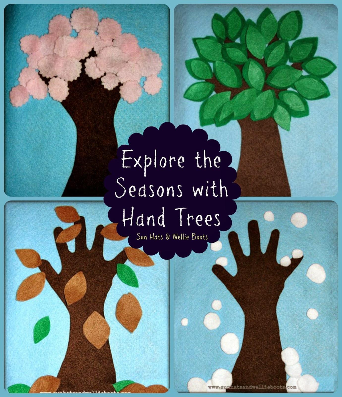Sun Hats & Wellie Boots Felt Hand Trees   Exploring the 20 Seasons