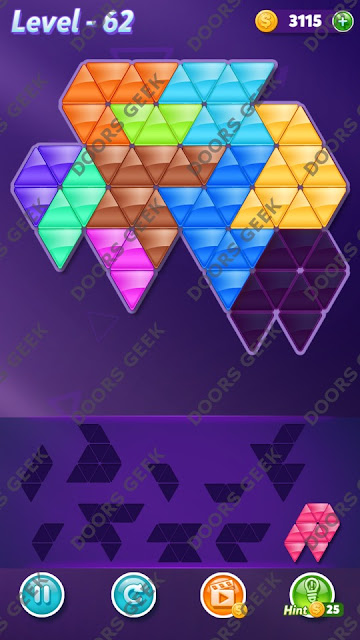Block! Triangle Puzzle 10 Mania Level 62 Solution, Cheats, Walkthrough for Android, iPhone, iPad and iPod