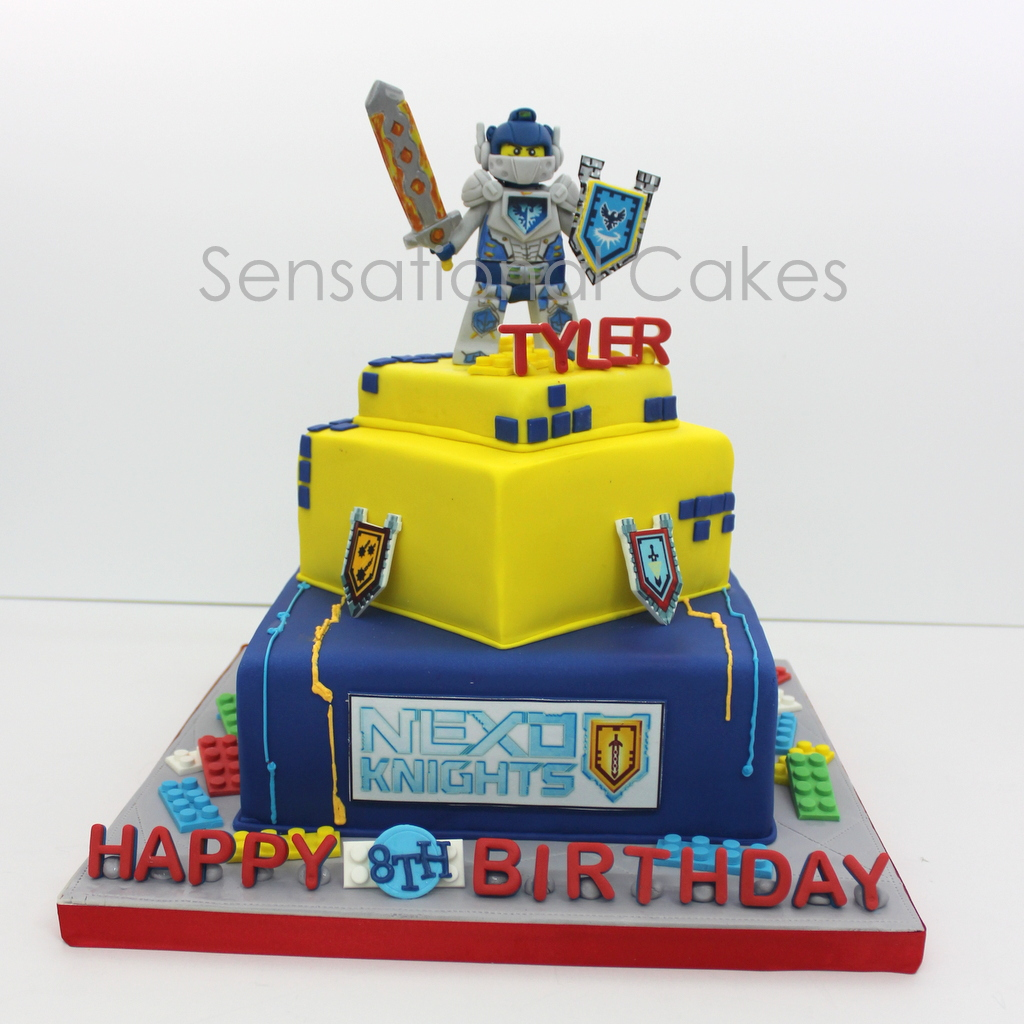 Incredible The Sensational Cakes Lego Character Nexo Knights Theme 3D Cake Funny Birthday Cards Online Eattedamsfinfo