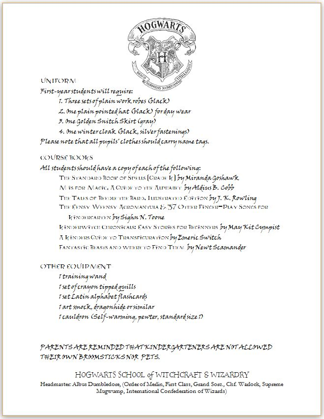 Pieces by Polly: Hogwarts Letter - Kindergarten Edition - Harry Potter Inspired