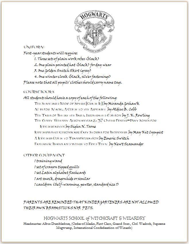 hogwarts acceptance letter supply list - Olalapropx - hogwarts acceptance letter