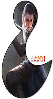 Abecedario de Arya Luchando. Arya of GoT Fighting Abc.