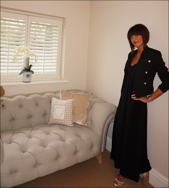 My Midlife Fashion, River Island Black Smart Buttoned Blazer, HM Maxi Dress, Gold metallic ballet pumps