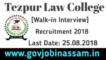 Tezpur Law College Recruitment 2018,govjobinassam, Tezpur Law College