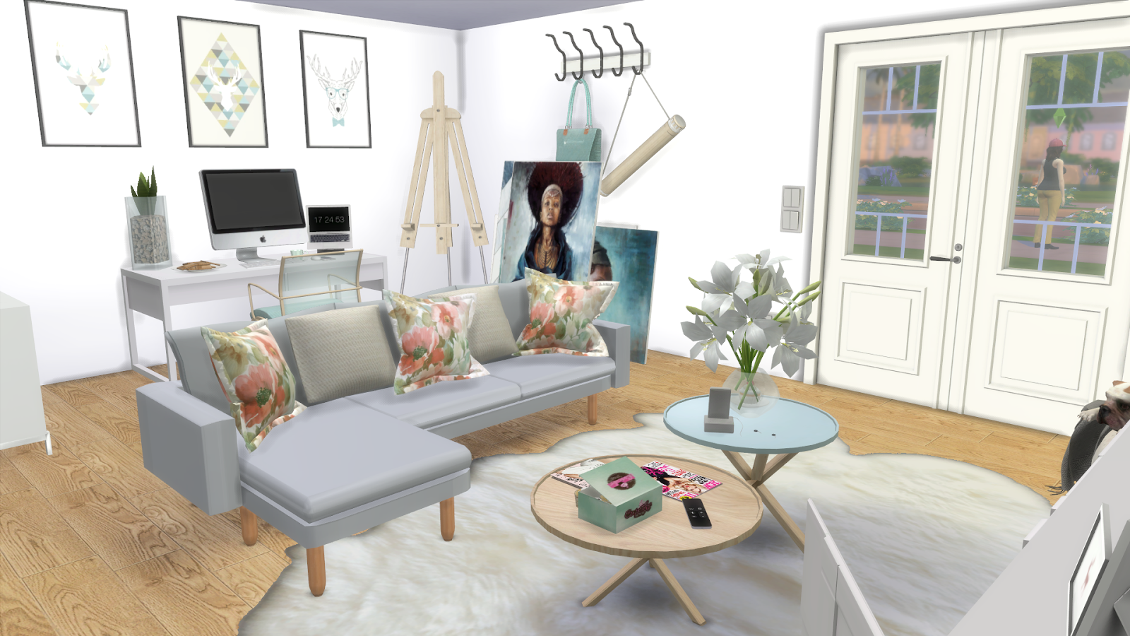 Cozy Living Room: Cozy Blue Living Room (Download + CC Creators