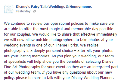 Outside Photographers Now Allowed at WDW In-Park Weddings?