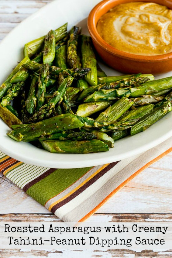 Roasted Asparagus with Creamy Tahini-Peanut Dipping Sauce, featured on Low-Carb Recipe Love on Fridays found on KalynsKitchen.com