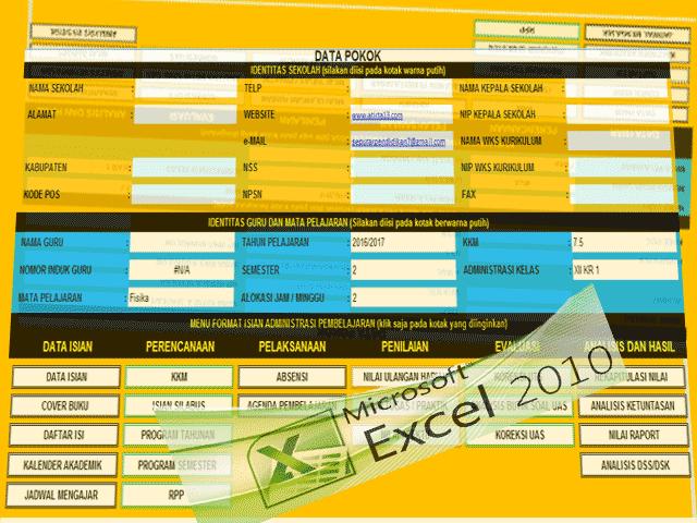Aplikasi Perangkat Administrasi Guru Kelas Lengkap 2016-2017 Format Excel