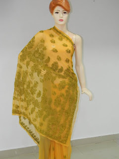 Yellow Green Chikankari Saree