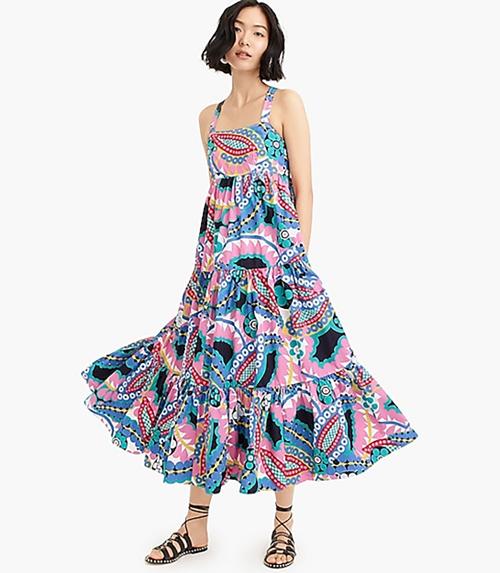 j.crew maxi print dress
