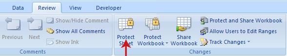 حماية ورقة Excel
