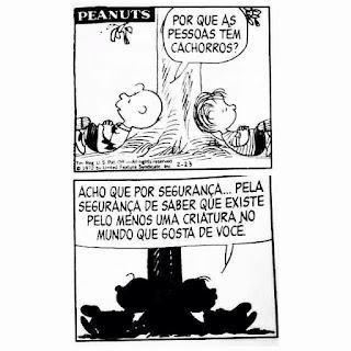 """Tirinha do Peanuts ou Minduim como é conhecida no Brasil, com dois quadros na vertical, dois personagens e falas em balão. Charlie Brown o protagonista, e Linus, estão deitados em sentidos opostos, com as cabeças recostadas ao pé de uma árvore com as pernas cruzadas e mãos também cruzadas, sobre a barriga. Charlie Brown o perfeito anti-herói, sempre que tenta fazer alguma coisa, fracassa. É conhecido pelo bordão """"que puxa!"""". Os dois personagens têm cabeças redondas, olhos redondinhos, nariz em C posicionado entre os olhos e boca grande feita com risco. Charlie Brown é careca com um topetinho na frente, usa camiseta amarela com estampa preta em zigue-zague circundando a barriga e costas; Linus é o mais novo e intelectual da história, tem cabelos ralos e lisos. Está sempre filosofando sobre a vida, não larga o cobertorzinho azul. Q1- É dia. Charlie Brown pergunta para Linus: Por que as pessoas têm cachorros? Q2- Já é noite. Os dois estão deitados na mesma posição. Linus conclui: Acho que por segurança...pela segurança de saber que existe pelo menos uma criatura no mundo que gosta de você."""