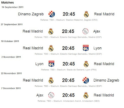 Real Madrid matches of the Group Stage. UEFA Champions League 2011-2012