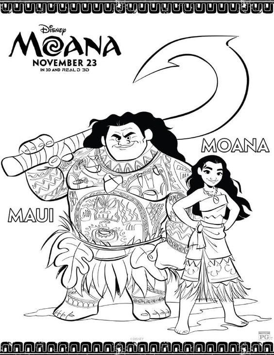 Tranh tô màu hình trình của Moana và Maui