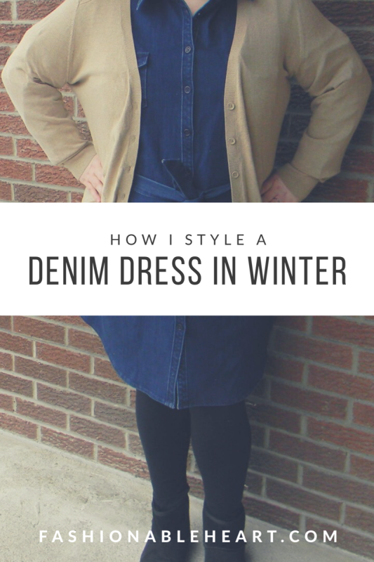 bbloggers, bbloggersca, canadian beauty bloggers, denim dress, eshakti, how i style, winter, outfit, ootd, plus size, fblogger, fbloggers, review