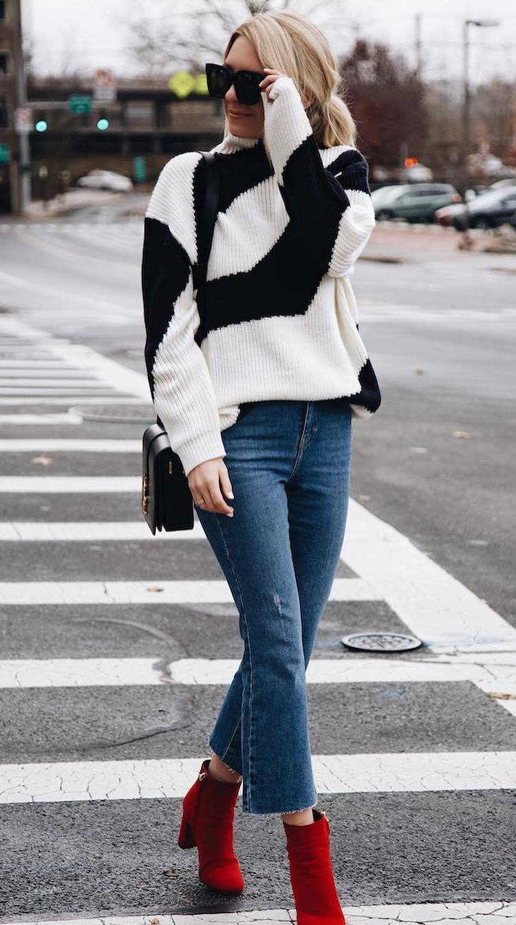 stylish look | white-black sweater + bag + jeans + red boots